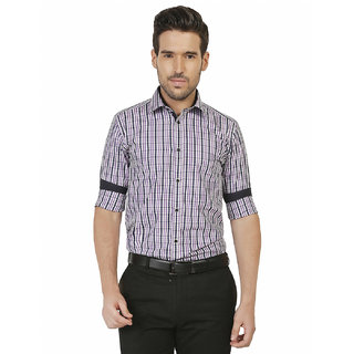 Crisp Outfitters Mens 100 Cotton formal Checkered Purple Shirt