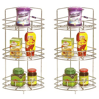 Doyours 2 Pieces Of Corner Triple Basket (stainless Steel)