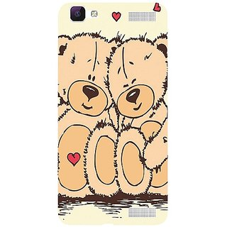 Casotec Teddy Bear Love Design 3D Hard Back Case Cover for Vivo V1 Max gz8186-11060