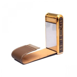 Rechargeable Flip Top Leather Shaver for Men - Brown/Gold V1-225