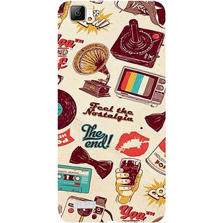 Casotec Vintage Print Design 3D Hard Back Case Cover for Vivo V1 gz8191-12069