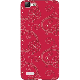 Casotec Floral Red White Design 3D Hard Back Case Cover for Vivo V1 gz8191-12252