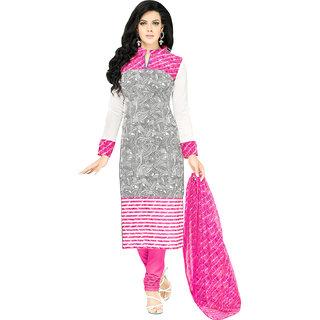 Sareemall Cream Cotton Embroidered Salwar Suit Dress Material