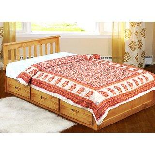 Red Gulmehndi Print Ethnic Hand Block Designed Jaipuri Single Bed Dohar