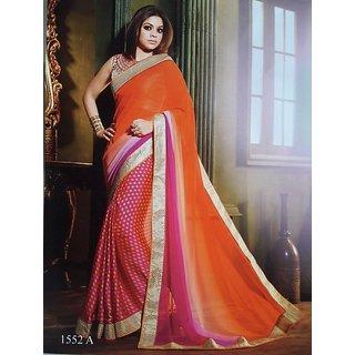 designer dark pink and orange colour chiffon georgette golden border saree
