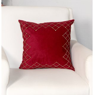 ZEBA Velvet Hand embroidered Cushion cover (Size 16X16)