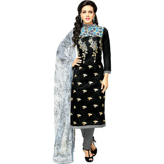 Sareemall Black Cotton Embroidered Salwar Suit Dress Material