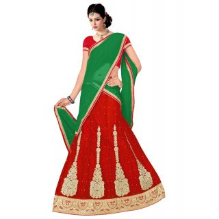 Pushty Fashion Red and Green Embroidered net Lehnga