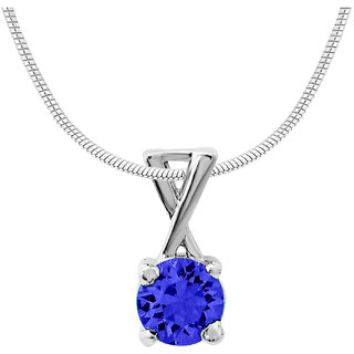 Mahi with CZ Dark Blue Elegant Cross Rhodium Plated Pendant for Women PS1194140RDBlu