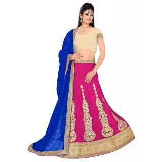Pushty Fashion Pink and Blue Embroidered net Lehnga