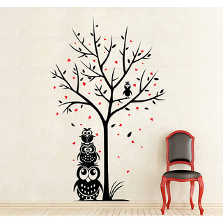 Wallskart  Owl Family Stand Side Of Love Tree Large Black Wall sticker