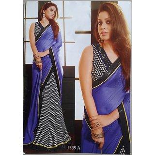 designer dark purple and black colour chiffon georgette black border saree