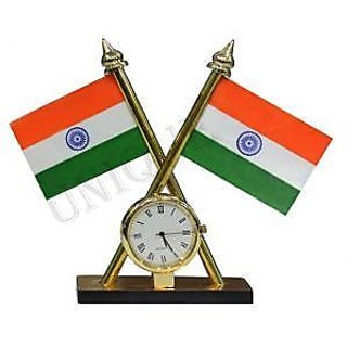 Indian Flag with Clock for Office Home and Car dashboard Buy