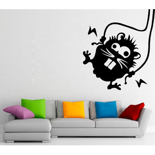 Wallskart  Rat With Electric Wire in Both Of Hands Large Black Wall sticker