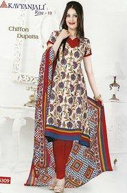 Kavyanjali Cotton Dress Material with Chiffon Dupatta