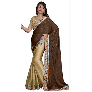 Aaina Brown Satin Chiffon Embroidered Saree with Blouse (FL-TM-142)