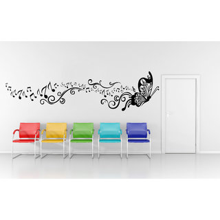 Wallskart  Butterfly With Music Buds Follower Large Black Wall sticker