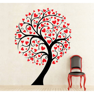 Wallskart  Tree Of Hearts Small Red  Black Wall sticker