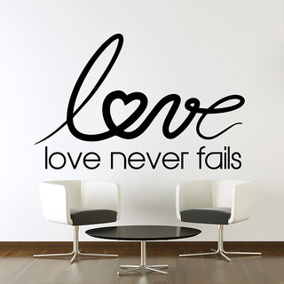 Wallskart  Love Never Falls Quote Extra Large Black Wall sticker