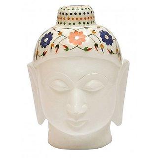Aartist Haat Good luck handmade marble inlay marble Buddha statue/ showpeice