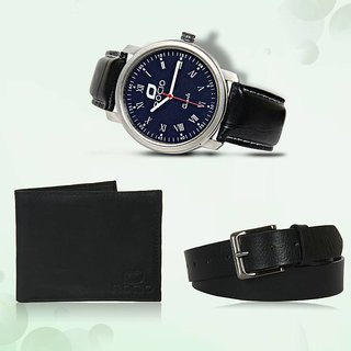 LEATHER WALLET, BELT, WATCH (SPACIAL COMBO) (Synthetic leather/Rexine)