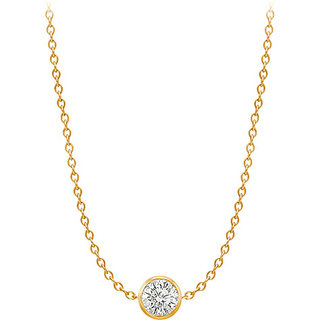 Diamond Necklace In 14K Yellow Gold Bezel Set 0.75 Ct.Tw
