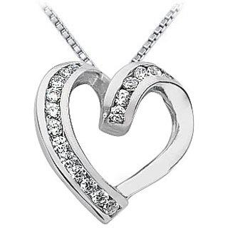 Classic Diamond Heart Pendant 14K White Gold-0.50 Ct Diamonds
