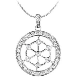 Diamond Circle Pendant 14K White Gold-0.75 Ct Diamonds