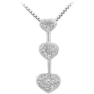 Pretty Diamond Heart Pendant 14K White Gold-0.25 Ct Diamonds