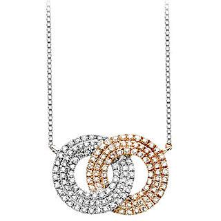 Diamond Double Circle Interlocking Pendant In 14K Two Tone White & Yellow Gold