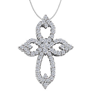 Diamond Cross Necklace In 14K White Gold Clover Leaf Design With 1.05 Ct Diamonds