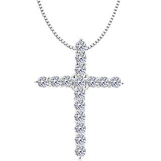 Diamond Cross Necklace In 14K White Gold 0.30 Ct Diamonds