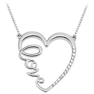 Diamond Heart Love Infinity Necklace In 14K White Gold Quarter Ct Diamonds