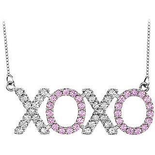Diamond & Pink Sapphire Xoxo Necklace In 14K White Gold 1 Ct Total Gem Weight