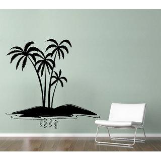 Wallskart  Coconut Tree On Beach Extra Large Black Wall sticker