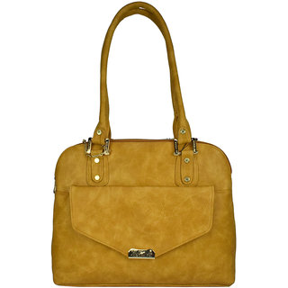 Moochies Ladies Leatherette handbag,Mustard Yellow