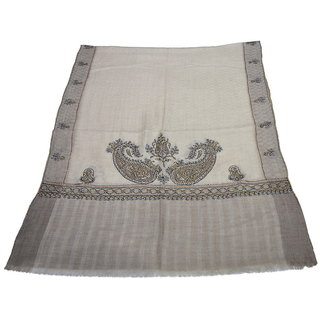 Sofias Exclusive Pure 100  Pashmina Hand Embrodiered Medium Shawl (70 cms x 200 cms) Natural Brown emzsspashminast15