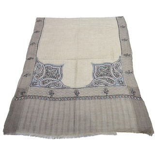 Sofias Exclusive Pure 100  Pashmina Hand Embrodiered Medium Shawl (70 cms x 200 cms) Natural Brown emzsspashminast16
