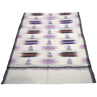 Sofias Exclusive Pure 100  Pashmina Hand Embrodiered Medium Shawl (70 cms x 200 cms) Off White / Multi Color emzsspashminast23