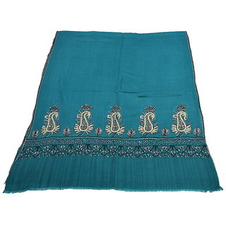 Sofias Exclusive Pure 100  Pashmina Hand Embrodiered Medium Shawl (70 cms x 200 cms) Turqoiuse Blue emzsspashminast30