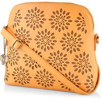 Butterflies Women Mustard Sling Bag