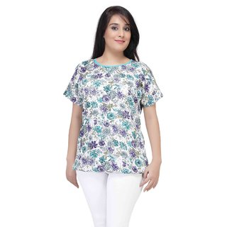 ULoveU Floral Print Cool Top (342, White, 3XL)