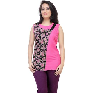 ULoveU Half Printed Half Plain fashionable Top (321A, Pink, 3XL)