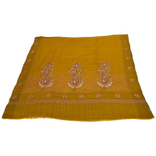 Sofias Exlusive 100 Pure Pashmina Hand Made Hand Wooven  Hand Embroidered Large Shawl (100 cms x 200 cms) Mustard Yellow emzsspashminash6