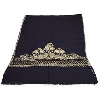 Sofias Exclusive Pure 100  Pashmina Hand Embrodiered Medium Shawl (70 cms x 200 cms) Black emzsspashminast33