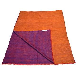 Sofias Exclusive Pure 100 Pashmina Hand Made and Hand Wooven REVERSIBLE Medium Shawl (70 cms x 200 cms) Orange - Purple emzsspashminast86