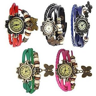 Pack of 5 Different Color Butterfly Vintage Watches For Women, Girl (RBBLGP)