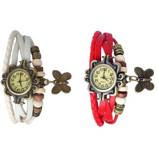 Set of 2 Fancy Vintage White & Red Leather Bracelet Butterfly Watch for Girls & Women - Combo Offer