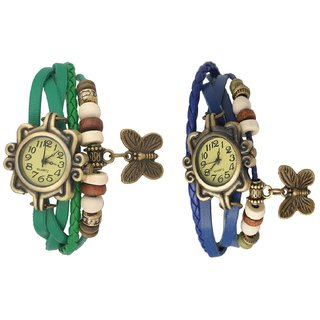 Set of 2 Fancy Vintage Green  Blue Leather Bracelet Butterfly Watch for Girls  Women - Combo Offer