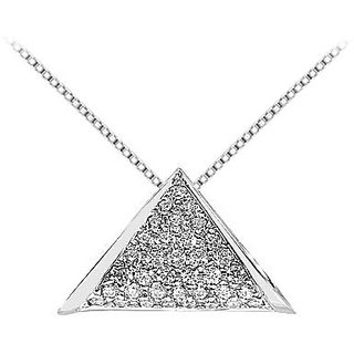 Diamond Triangle Pendant In 14K White Gold 0.75 Ct Diamonds